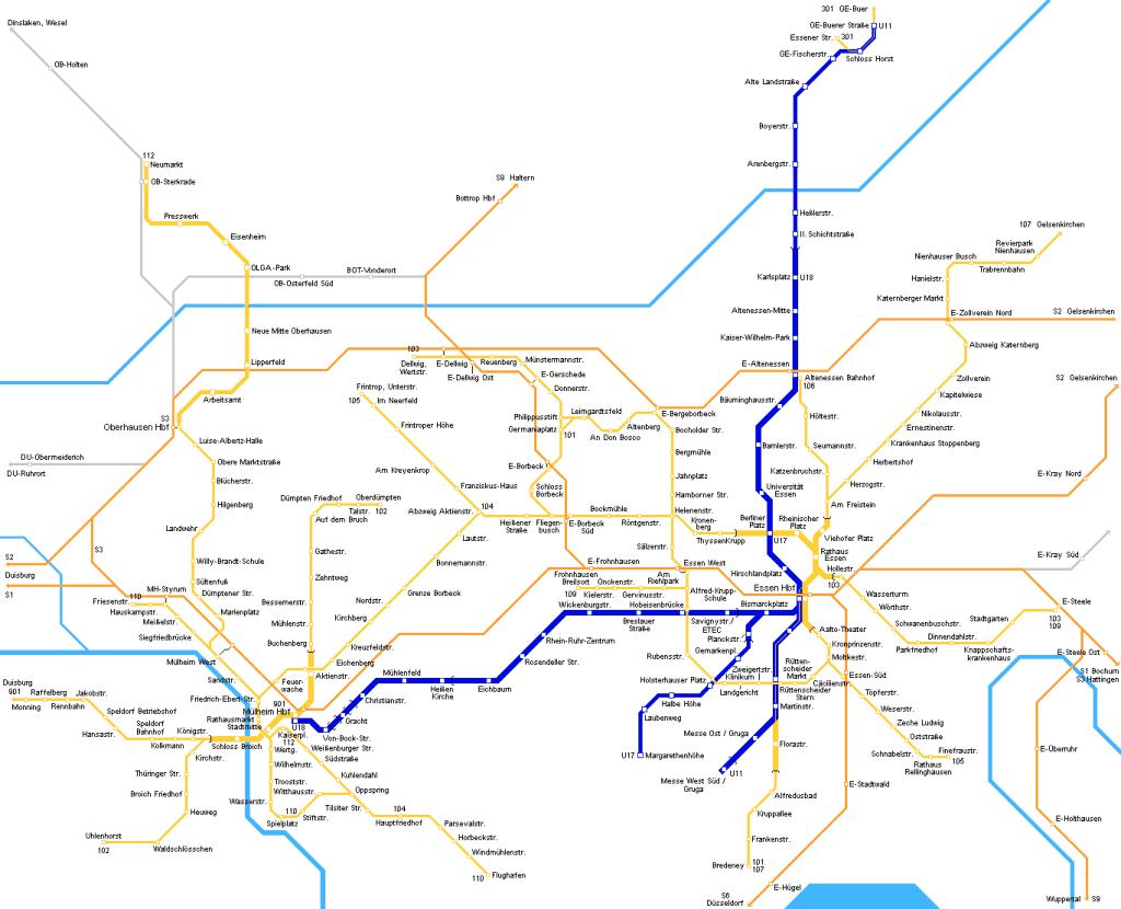 Mapa metro Essen 1
