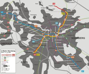 Mapa metra w Norymberdze 2