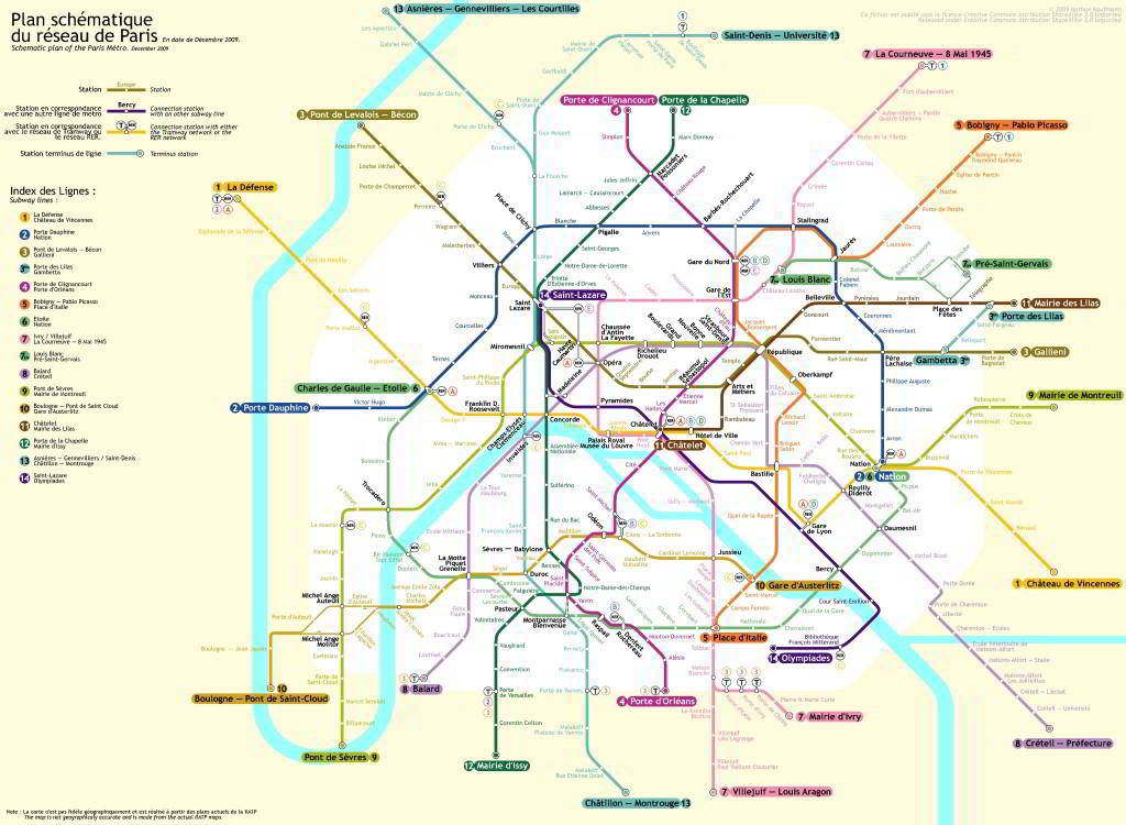 mapa do metro de Paris 1