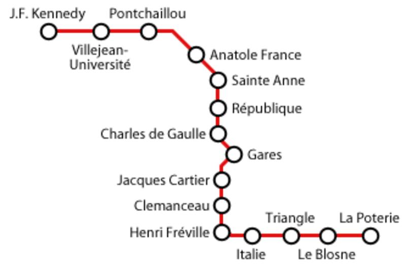 Mapa metra w Rennes 1