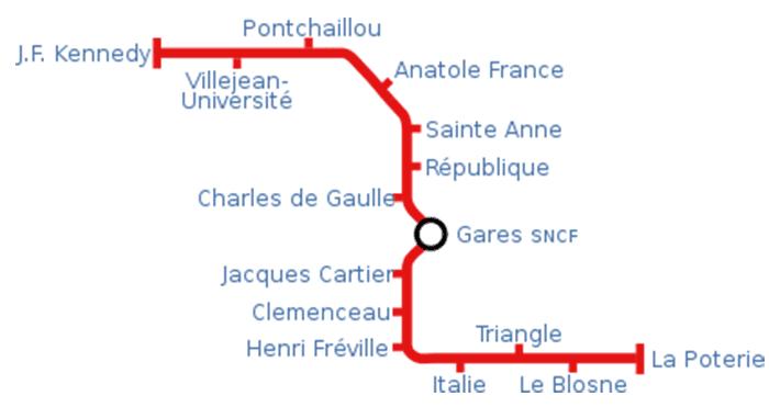 Mapa metra w Rennes 2