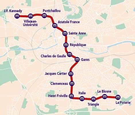 Mapa metra w Rennes 3