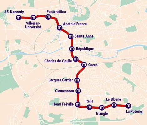 Mapa metro Rennes 3