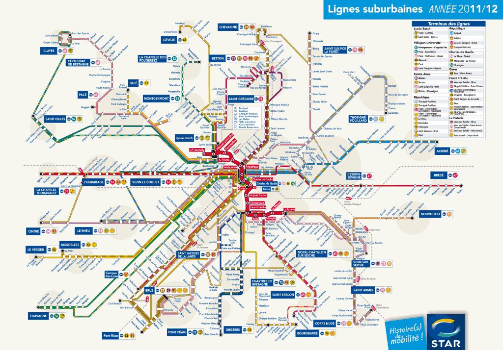 Mapa de metrô Rennes 4