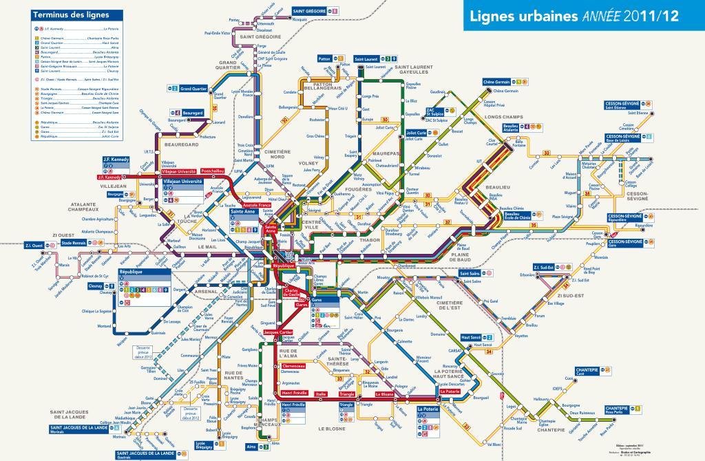 Mapa de metrô Rennes 5