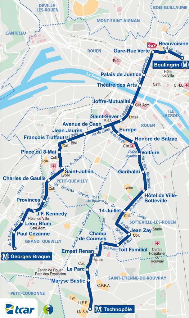 Rouen mappa della metropolitana
