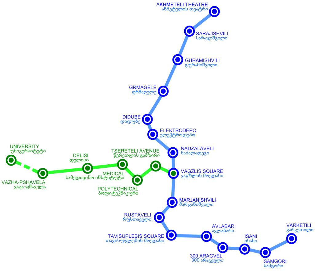 Mapa métro Tbilissi Tiflis 1