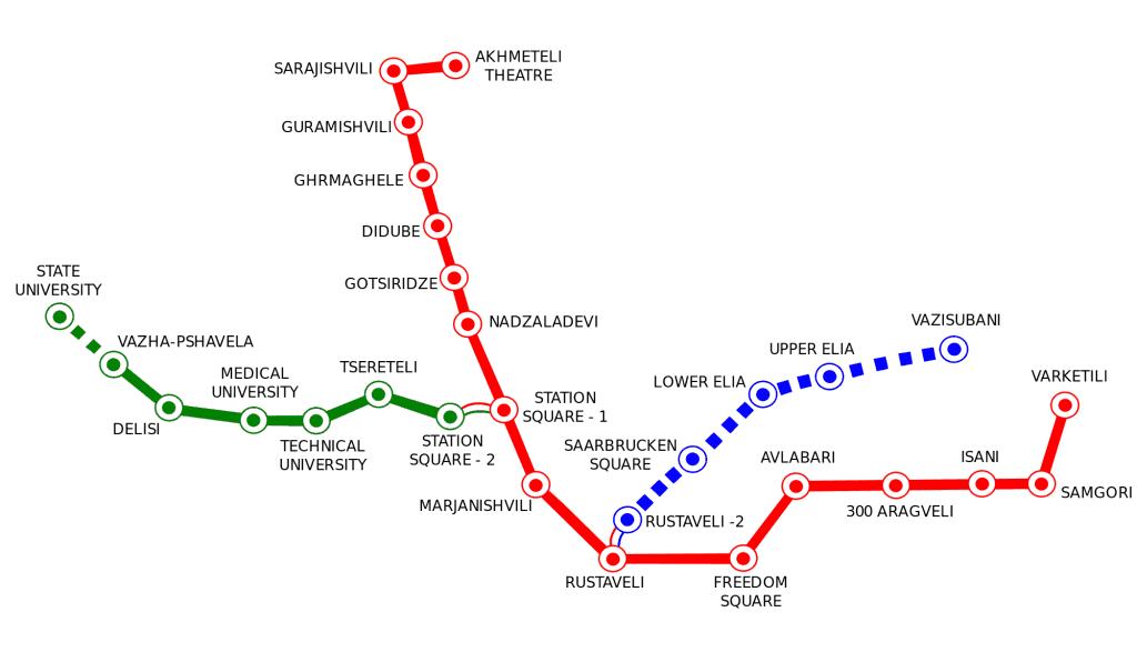 Mapa métro Tbilissi Tiflis 2