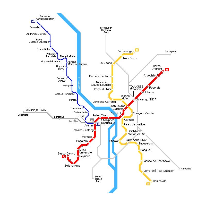 الخريطة المترو تولوز 1