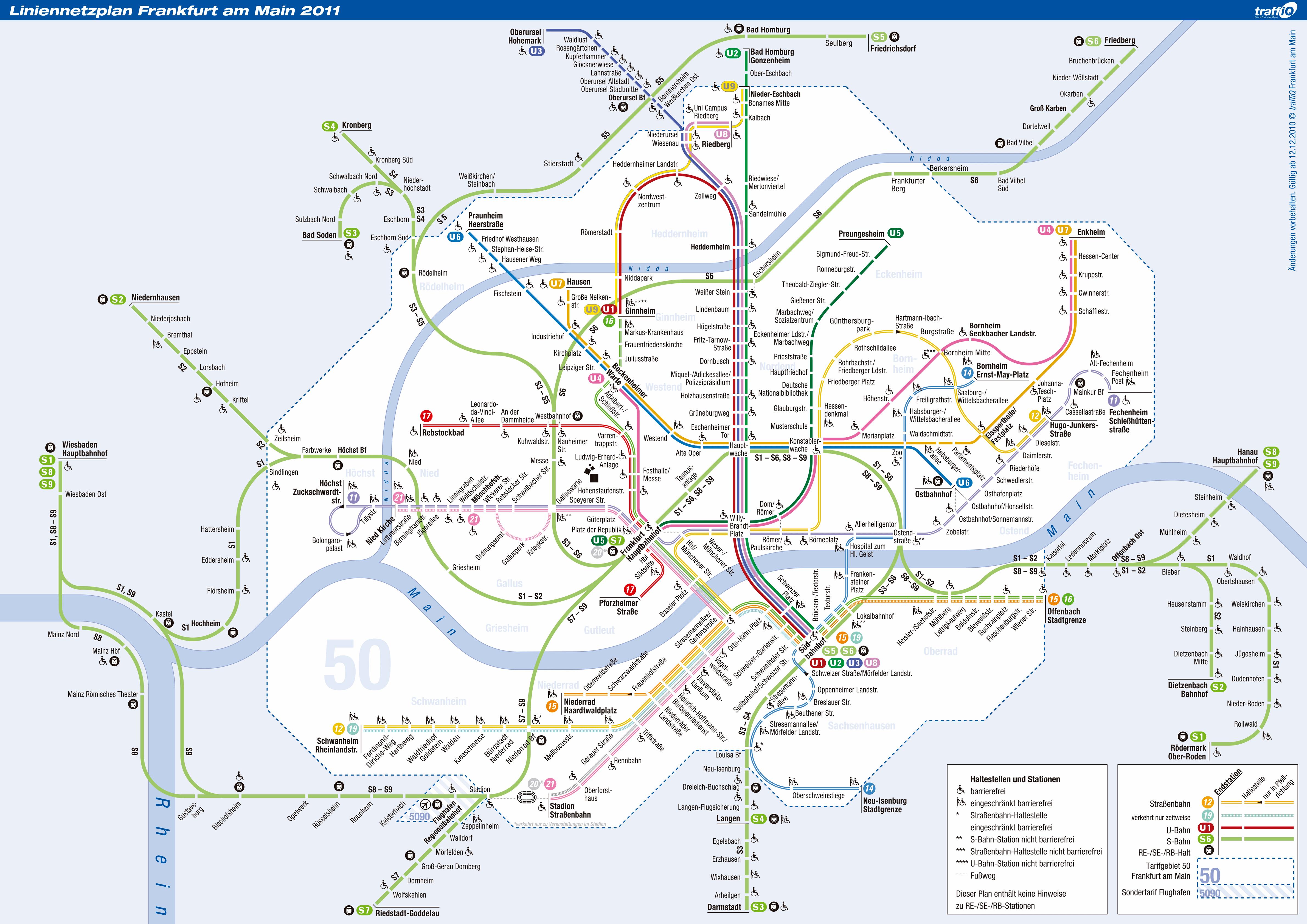 Frankfurt Tram And Metro Map