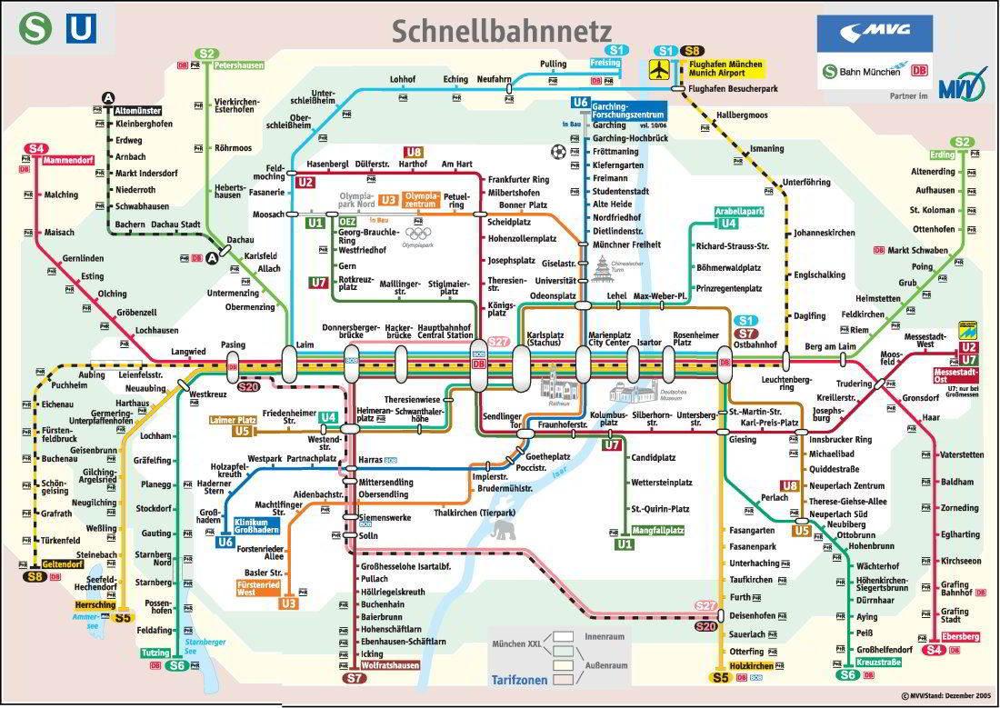 Munich subway map (Munich U Bahn)   Mapa Metro