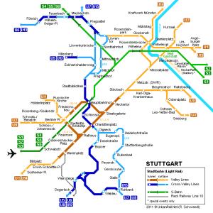 シュトゥットガルトの中心部の地下鉄マップ