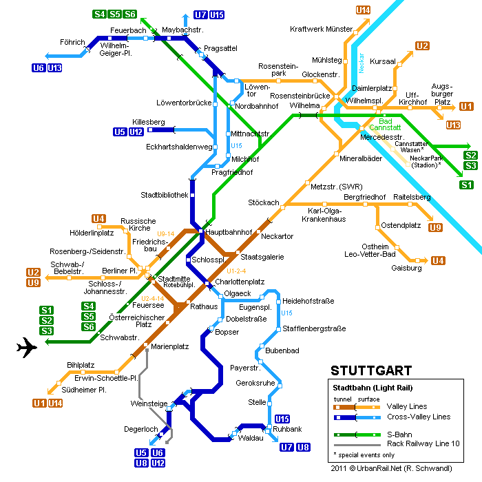 stuttgart centre metro map