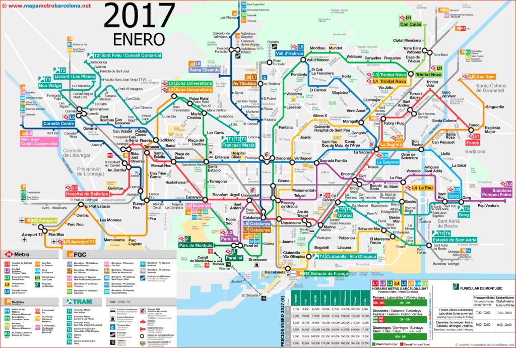 巴塞羅那的地鐵線路圖 2017